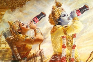 Krishna and Arjuna drink coca cola